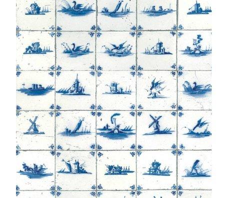 KEK Amsterdam Behang Royal blue tiles blauw vliespapier 97,4x280cm