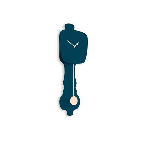 KLOQ Klok petrol blauw small, roze hout 59x20,4x6cm
