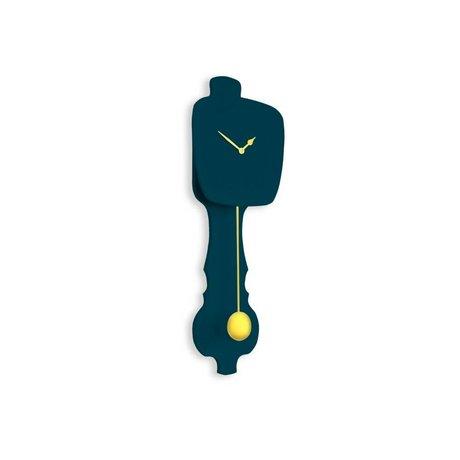 KLOQ Klok petrol blauw small, goud hout 59x20,4x6cm