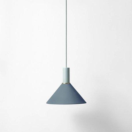 Ferm Living Hanglamp Cone low donker blauw licht grijs metaal