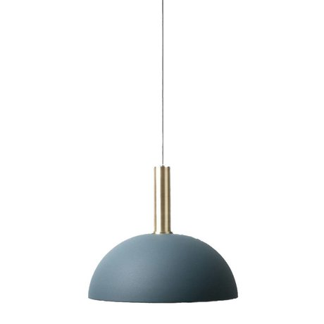 Ferm Living Hanglamp Dome high donker blauw brass goud metaal