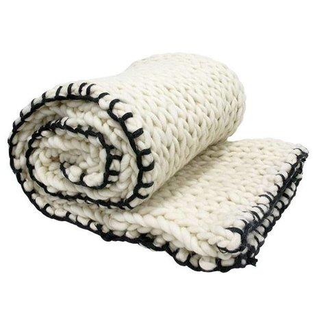 HK-living Bedsprei gebreid zwart wit wol 120x180cm