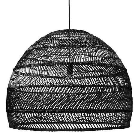 HK-living Hanglamp handgevlochten zwart riet 80x80x60cm
