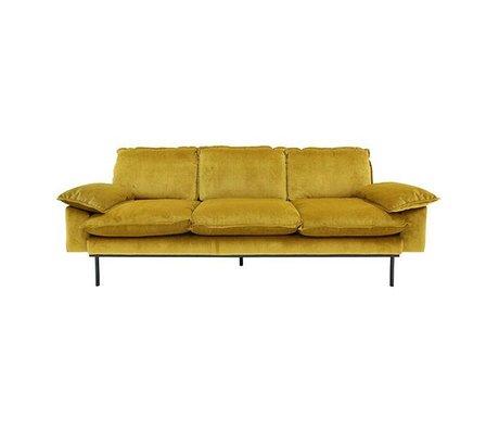 HK-living Bank Trendy Ochre 3-zits geel velvet 225x83x95cm