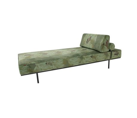 HK-living Bank Daybed Tropical groen geprint velvet 200x80x41cm