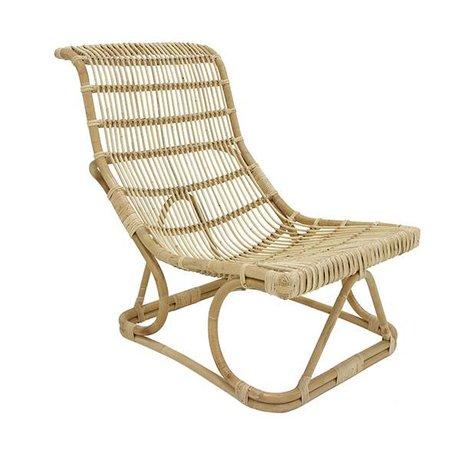 HK-living Lounge stoel naturel bruin rotan