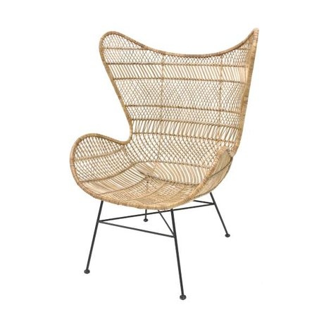 HK-living Stoel Bohemian naturel bruin rotan Egg chair 74x82x110cm