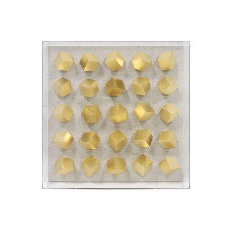 HK-living Kunstframe kubus L goud plexiglas 45x8,7x45cm