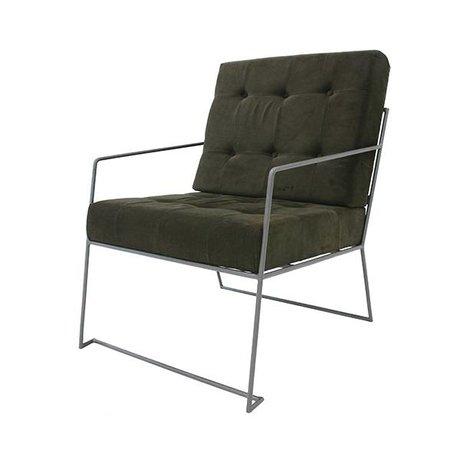 HK-living Fauteuil Corduroy groen textiel 61x80x79cm