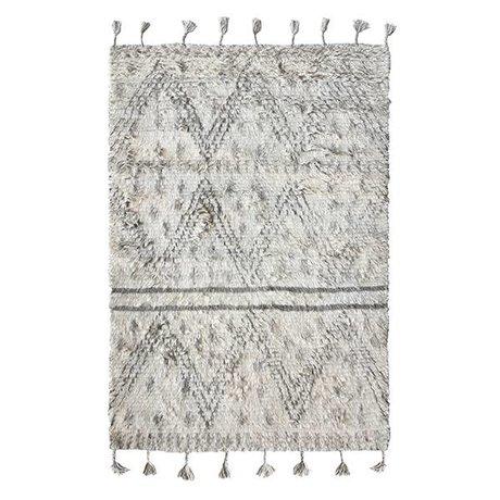 HK-living Vloerkleed Berber handgeweven grijs wit wol 180x280cm