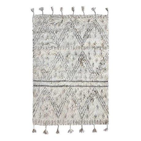HK-living Vloerkleed Berber handgeweven grijs wit wol 120x180cm