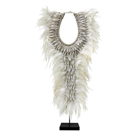 HK-living Ornament Papua L met veren wit schelp 40x12x72cm