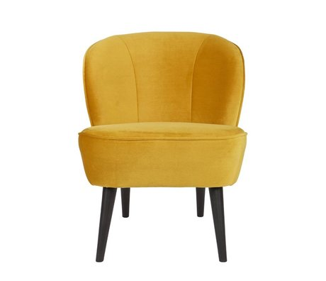 LEF collections Fauteuil Sara okergeel fluweel polyester 70x59x71cm