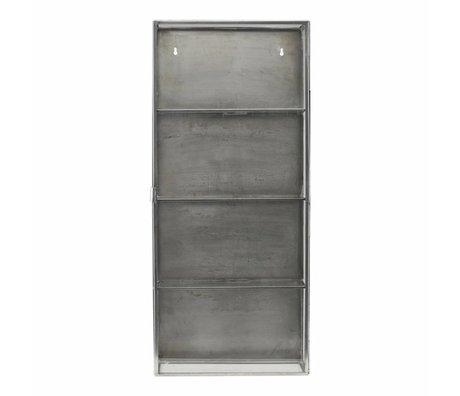Housedoctor Wandkast zink grijs metaal glas 35x15x80cm