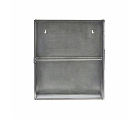 Housedoctor Wandkast zink grijs metaal glas 35x15x40cm