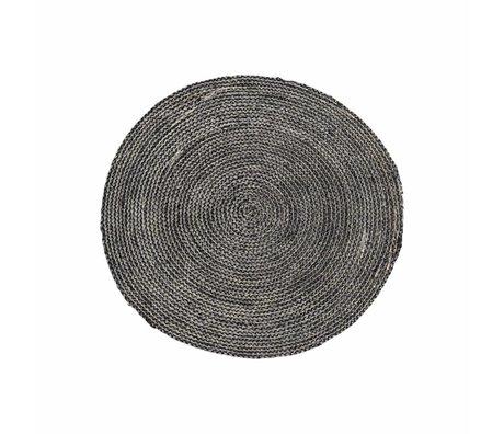 Housedoctor Vloerkleed Structure zwart grijs hennep Ø100cm