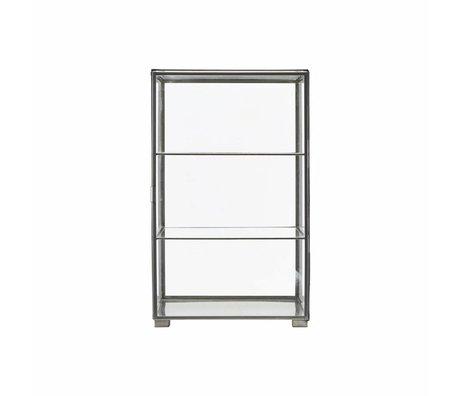 Housedoctor Kabinetkast zink grijs ijzer glas 35x35x56.6cm