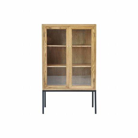 Housedoctor Kabinetkast Cosmo naturel bruin hout metaal glas 90x40x150cm
