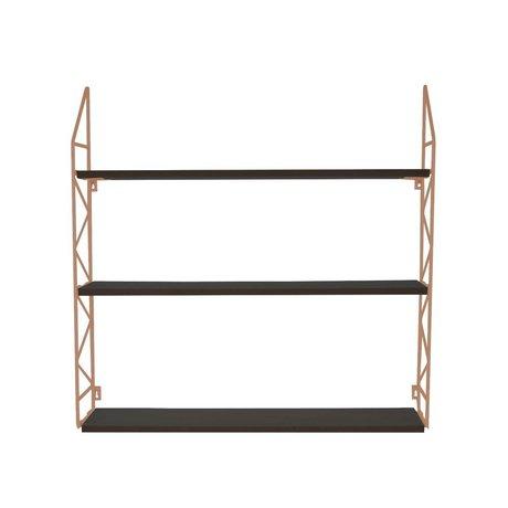 pt, Wandrek Zig Zag koper metaal hout 60x60x11cm