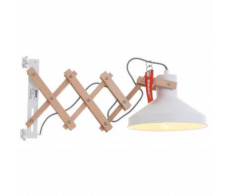 Anne Lighting Wandlamp Woody scissors wit metaal hout metaal ø23x40-66cm