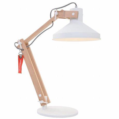Anne Lighting Tafellamp Woody wit metaal hout metaal ø23x68cm