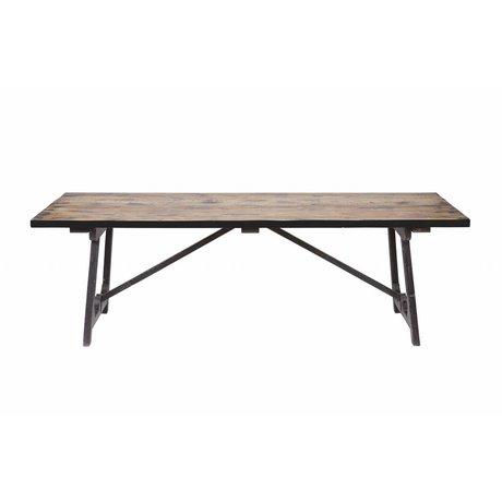 BePureHome Eettafel Craft bruin zwart hout 76x220x90cm