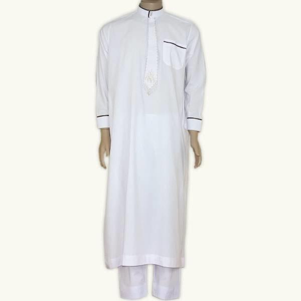 Arabische Galabiyah mit passender Hose in Weiss