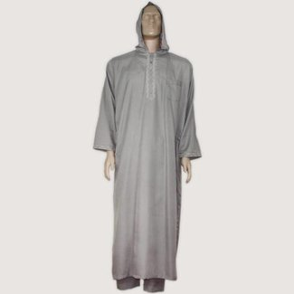 Moroccan Jellaba m. Trousers - Light Grey