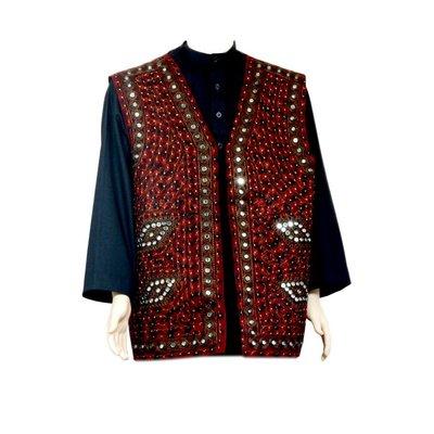 Oriental Indian mirror Vest - Dark Red