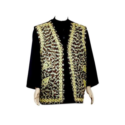 Oriental Indian mirror Vest - Black