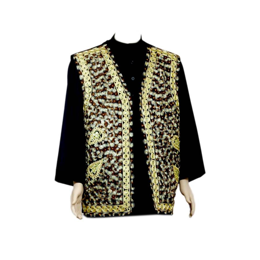 Oriental Indian Mirror Vest Black Oriental Style
