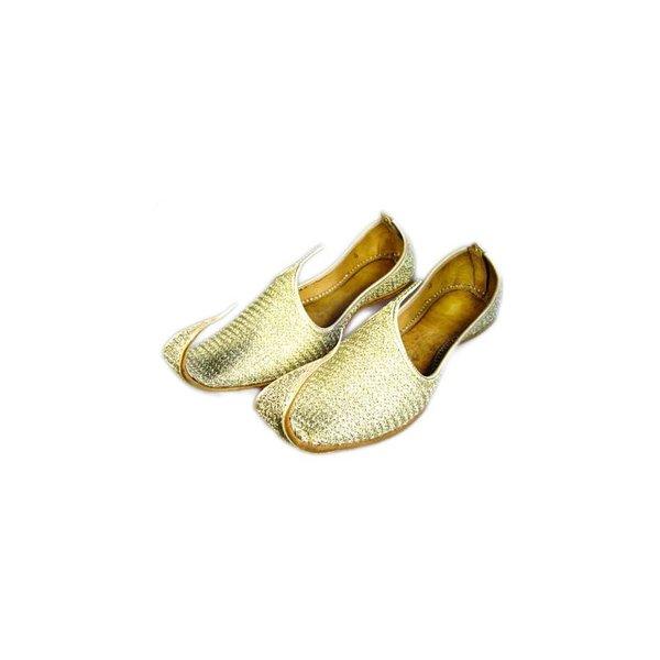 Indian beak shoes - Men Khussa in Gold