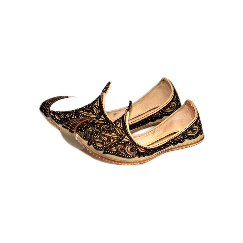 Indian Beak Shoes Men Khussa In Brown Black Oriental Style