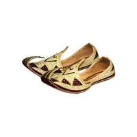 Indian beak shoes - Men Khussa in Gold Red