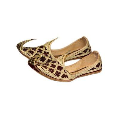 Indische Schnabelschuhe - Khussa Schuhe in Gold Rot