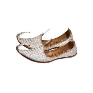 Indische Khussa Schuhe Schnabelschuhe Silber