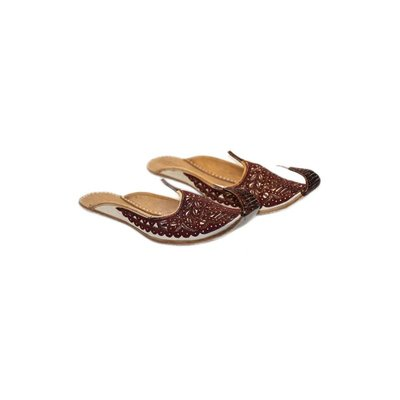 Indian beak shoes - Open Khussa in Red