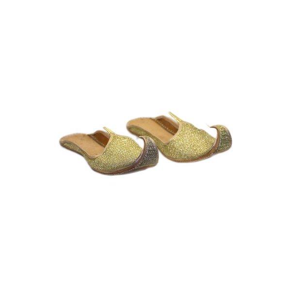 Indische Schnabelschuhe - Offene Khussa Schuhe in Gold