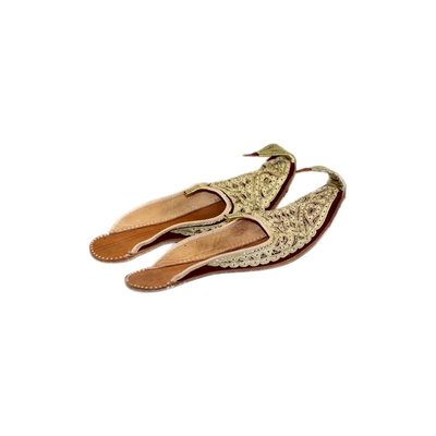 Indian beak shoes - Open Khussa in Gold Red