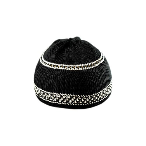 Black-White crocheted cap / one size