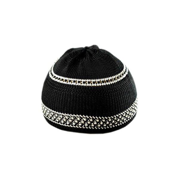 Black-White crocheted cap / one size