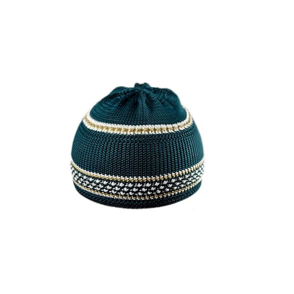 Green-White crocheted cap / one size