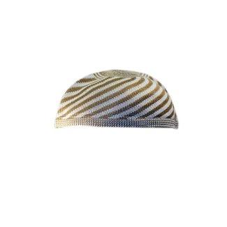 Striped Häkelmütze in Light Brown / One size fits all