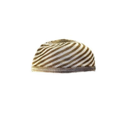 Striped Häkelmütze in Brown / One size fits all
