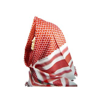 Large scarf in red and white with fringe 125cmx120cm