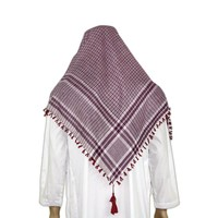Large Scarf - Shemagh in White-Red 120x115cm