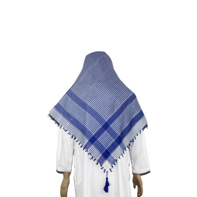Large Scarf - Shemagh White and Blue 120x115cm