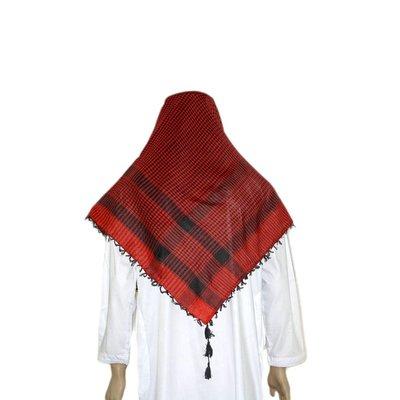 Large Scarf - Shemagh in Red Black 120x115cm