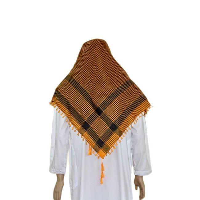 Großes Tuch - Shemagh Orange-Schwarz 120x115cm