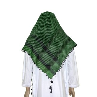 Large Scarf - Shemagh Green-Black 120x115cm